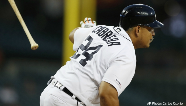 Detroit Tigers' Miguel Cabrera tosses his bat after hitting a singe during the fifth inning of the second game of the baseball team's doubleheader against the Chicago White Sox, Tuesday, Aug. 6, 2019, in Detroit. (AP Photo/Carlos Osorio)
