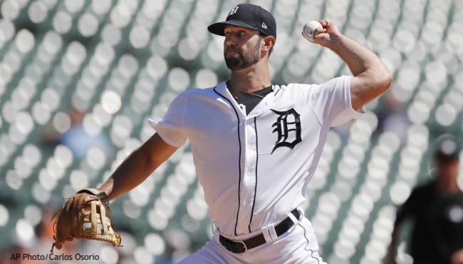 Detroit Tigers starting pitcher Daniel Norris throws during the first inning of a baseball game against the Cleveland Indians, Thursday, Aug. 29, 2019, in Detroit. (AP Photo/Carlos Osorio)