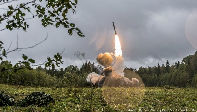 A Russian Iskander-K missile being launched during a military exercise.