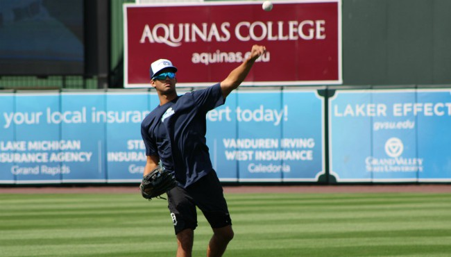 Riley Greene practices on the field at Fifth Third Ball Park after getting called up to the West Michigan Whitecaps on Aug. 8, 2019.