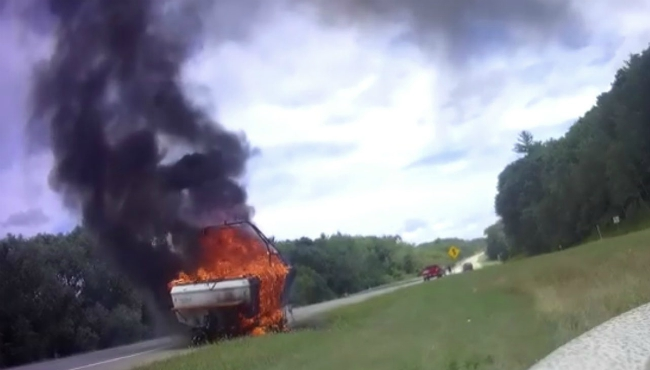 A boat was destroyed in a fire on US-131 near Post Drive. (Aug. 17, 2019) (Courtesy of the Plainfield Township Fire Department)
