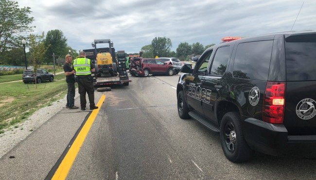 A photo near a crash near Holton and Whitehall roads in North Muskegon. (Aug. 16, 2019)