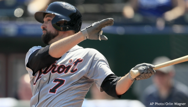 Detroit Tigers' Jordy Mercer hits a solo home run off Kansas City Royals starting pitcher Glenn Sparkman during the fourth inning of a baseball game at Kauffman Stadium in Kansas City, Mo., Thursday, Sept. 5, 2019. (AP Photo/Orlin Wagner)
