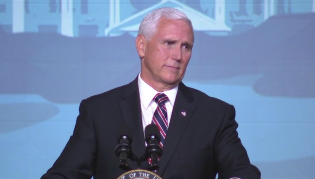 A photo of Vice President Mike Pence speaking at the Republican Leadership Conference in Mackinac Island. (Sept. 21, 2019)