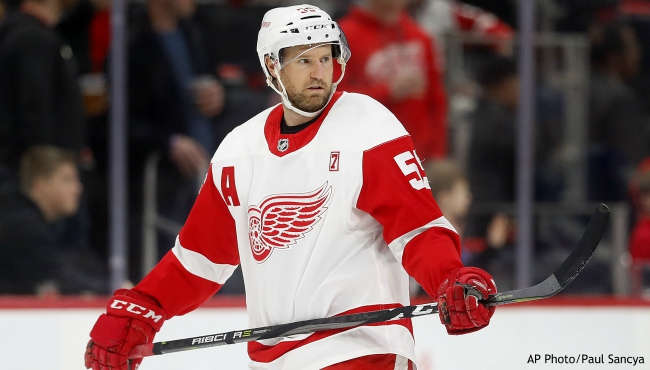 Detroit Red Wings defenseman Niklas Kronwall warms up before an NHL hockey game against the Tampa Bay Lightning, Thursday, March 14, 2019, in Detroit. (AP Photo/Paul Sancya)