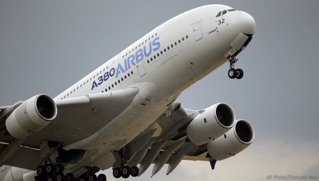 In this June 18, 2015 filephoto, an Airbus A380 takes off for its demonstration flight at the Paris Air Show, in Le Bourget airport, north of Paris. (AP Photo/Francois Mori, File)