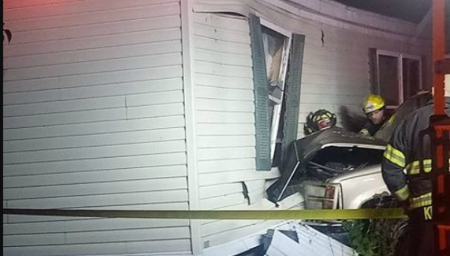 A photo of a vehicle crashing into a mobile home in Cutlerville. (Courtesy of Pschigoda Schultz)