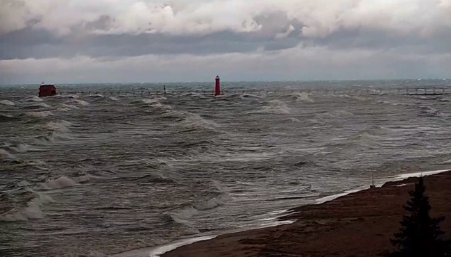 Waves on Lake Michigan in Grand Haven around 8 a.m. Tuesday, Oct. 22, 2019.