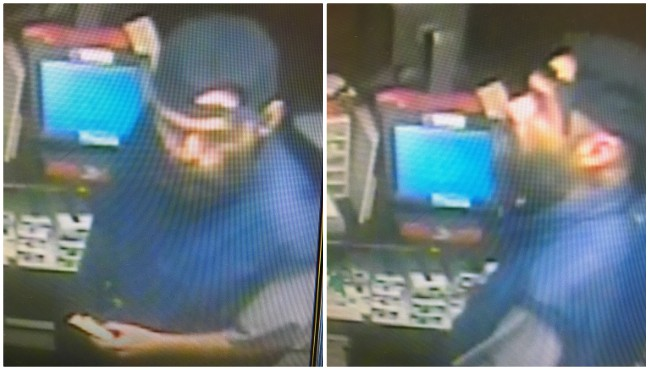 Surveillance photos of a suspect in connection to an armed robbery in Montcalm County's Eureka Township Wednesday, Oct. 16, 2019. (Michigan State Police)