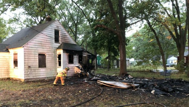 Authorities are respond to a house fire in Muskegon Heights Wednesday, Oct. 16, 2019.