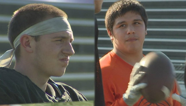 A photo of Luke Stevenson and Nate Hall at a recent football practice at Thornapple Kellogg.