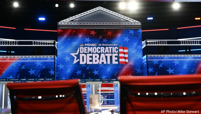 In this Tuesday, Nov. 19, 2019 photo, the stage for the Democratic presidential primary is seen before Wednesday's debate in Atlanta. (AP Photo/Mike Stewart)