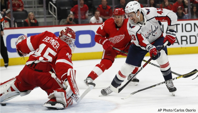 Washington Capitals right wing Tom Wilson (43) shoots the puck past Detroit Red Wings goaltender Jonathan Bernier (45) for a goal during the third period of an NHL hockey game Saturday, Nov. 30, 2019, in Detroit. (AP Photo/Carlos Osorio)