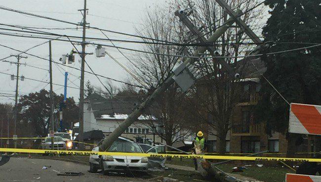 Authorities on scene of a crash in Wyoming Sunday, Nov. 18, 2019.