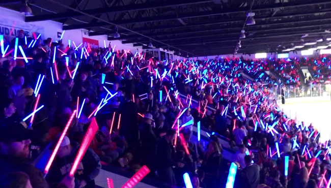 A photo of the lightsaber fight during the Kalamazoo Wings on Nov. 2, 2019.