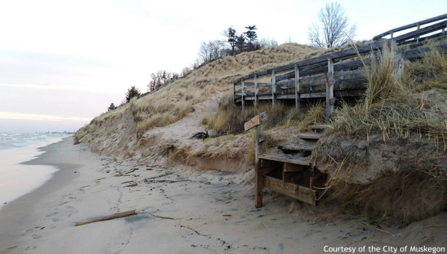 Muskegon officials say they are closing boardwalk access to Lake Michigan at Kruse Park due to erosion and high water levels. (Courtesy of the City of Muskegon)