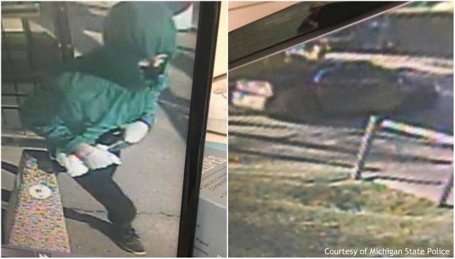 A collage of a suspect and the suspect's vehicle in an armed robbery in Barry County on Jan. 6, 2020. (Courtesy of Michigan State Police)