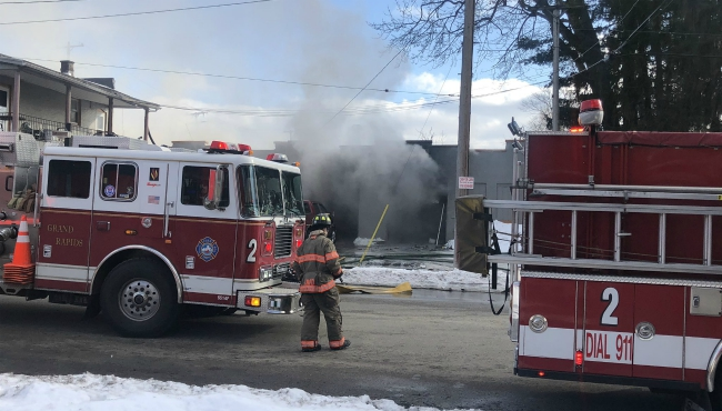 Crews responded to a fire at Eastern Avenue and Oakdale Street SE in Grand Rapids on Feb. 18, 2020.