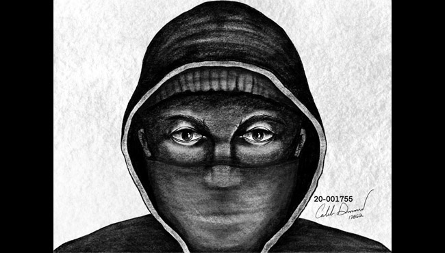A sketch of a suspect in connection to a armed robbery in Kalamazoo Feb. 1, 2020. (Kalamazoo Department of Public Safety)