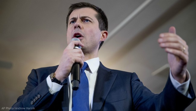 Democratic presidential candidate former South Bend, Ind., Mayor Pete Buttigieg speaks at a campaign stop at the Merrimack American Legion, Thursday, Feb. 6, 2020, in Merrimack, N.H. (AP Photo/Andrew Harnik)