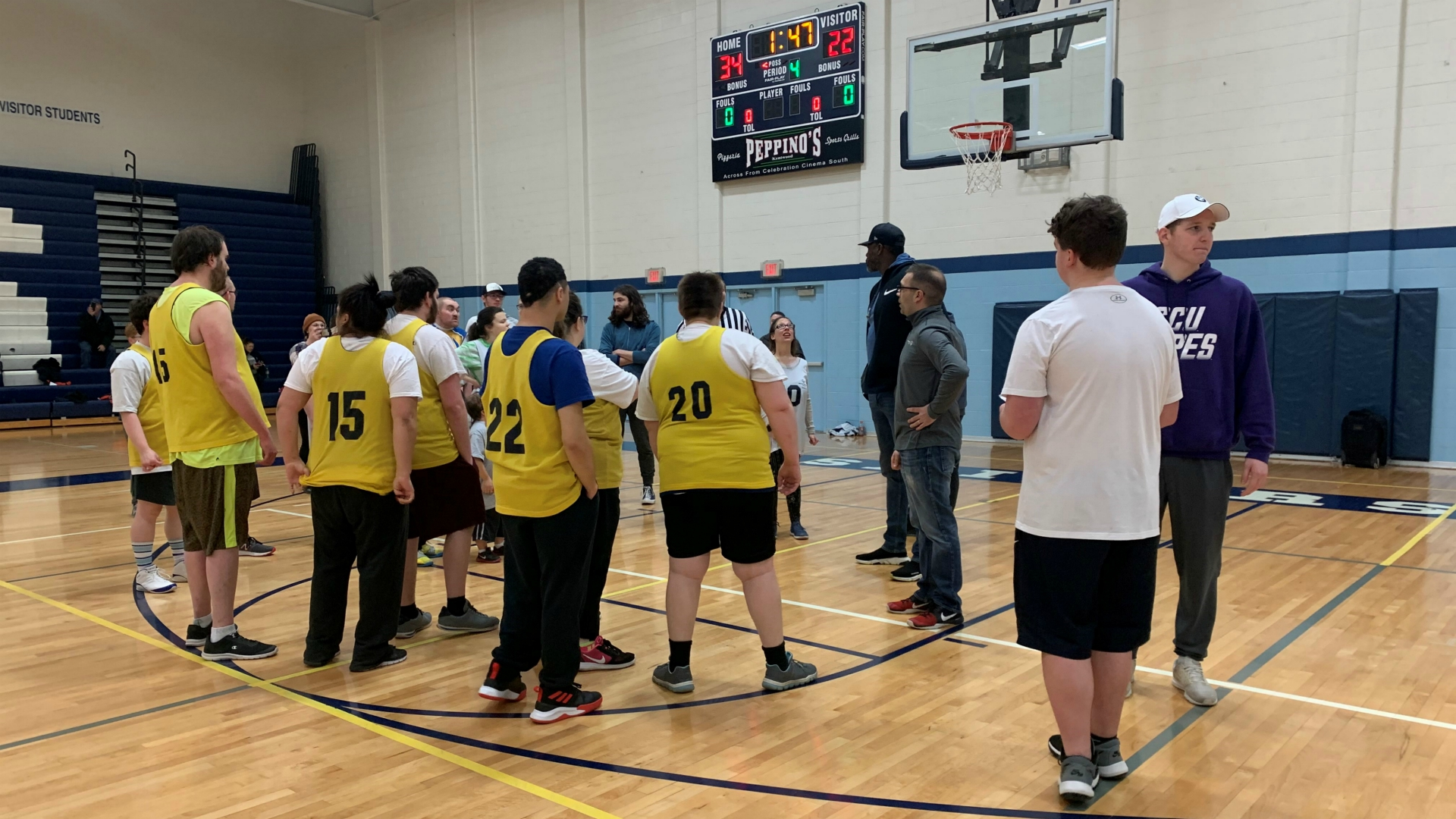 Former Detroit Pistons player Ben Wallace visits at the Special Olympics Michigan's Unified Sports & Inclusion Center on Feb. 29, 2020.