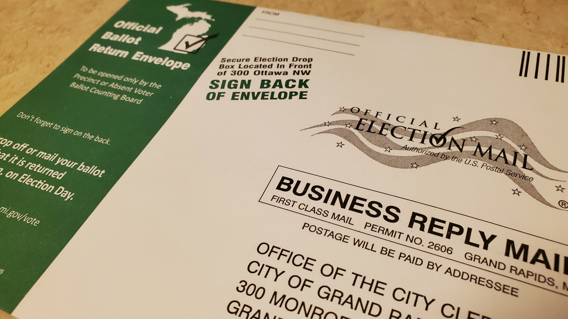absentee ballot return envelope