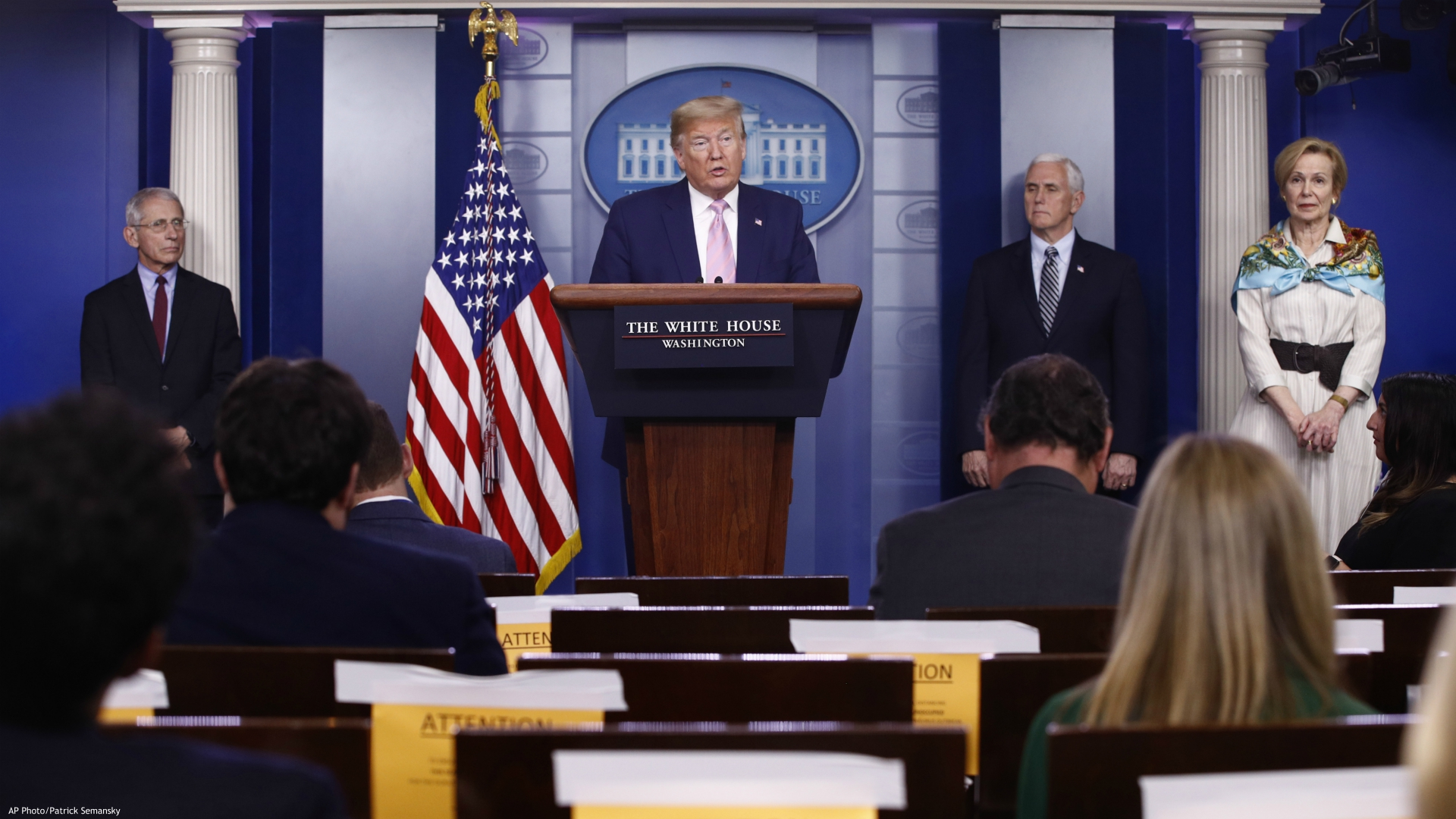 President Donald Trump speaks during a coronavirus task force briefing at the White House, Saturday, April 4, 2020, in Washington. From left, Dr. Anthony Fauci, director of the National Institute of Allergy and Infectious Diseases, Trump, Vice President Mike Pence and Dr. Deborah Birx, White House coronavirus response coordinator. (AP Photo/Patrick Semansky)