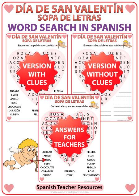 Valentines Day Word Search In Spanish Sopa De Letras