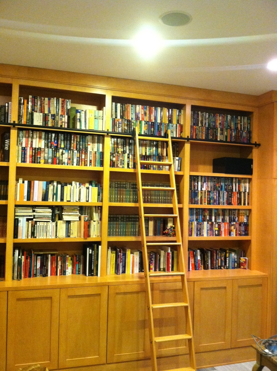 Custom Bookcases With Rolling Ladder