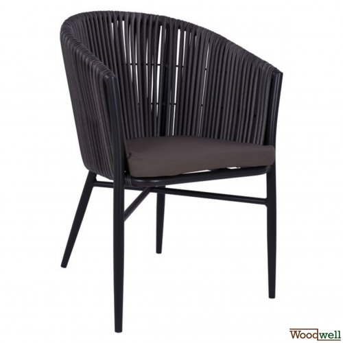 armchair woodwell outdoor armchair aluminum skeleton knit wicker gray