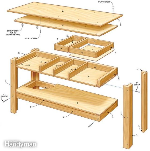 ... Simple Workbench With Drawers - Woodwork City Free Woodworking Plans
