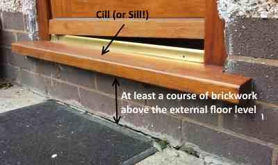 Cill on a wooden door frame