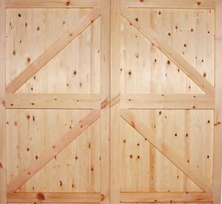 Knotty softwood garage doors