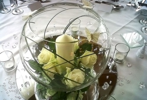 wedding table centrepiece fish bowl