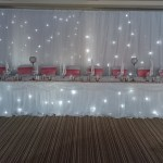 Twinkling backdrop and table swag