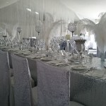 Silver themed venue dressing