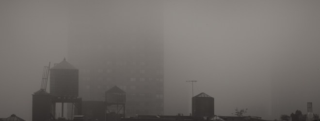 Rooftops in the fog