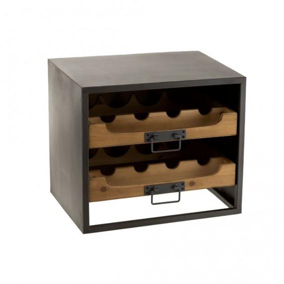 range bouteille 2 tiroirs pour bouteilles de vin metal et bois 43x38cm woodycosy com