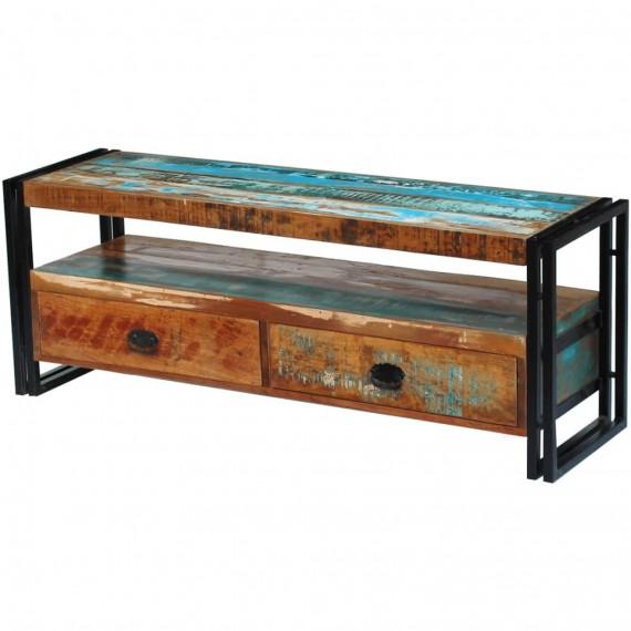 meuble tv bois de recuperation massif 2 tirroirs 120cm