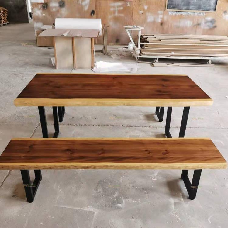 ensemble table et bancs bois massif en pin