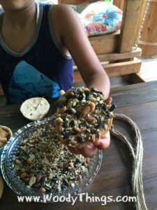 Bird seeds on bagel bread
