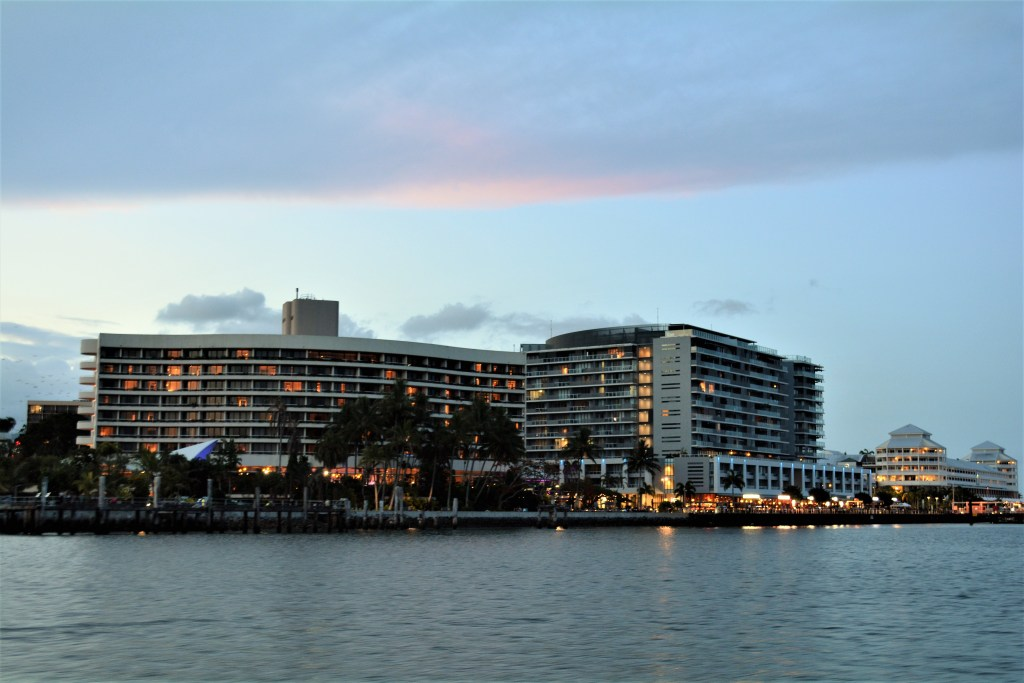 Hilton Hotel and the boardwalk from the Cairns Harbour Sunset Cruise