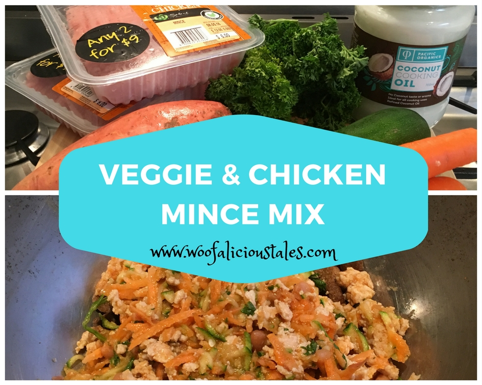 Photo collage of chicken mince sweet potato zucchini carrot coconut oil parsley