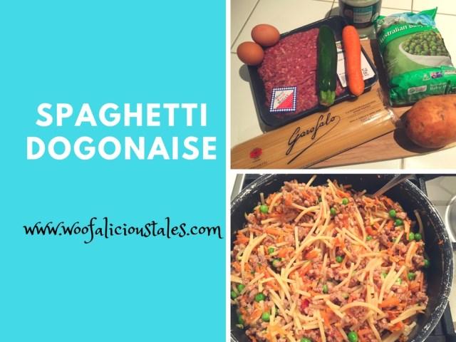 photo collage of spaghetti mince eggs peas sweet potato carrot zucchini  on a chopping board