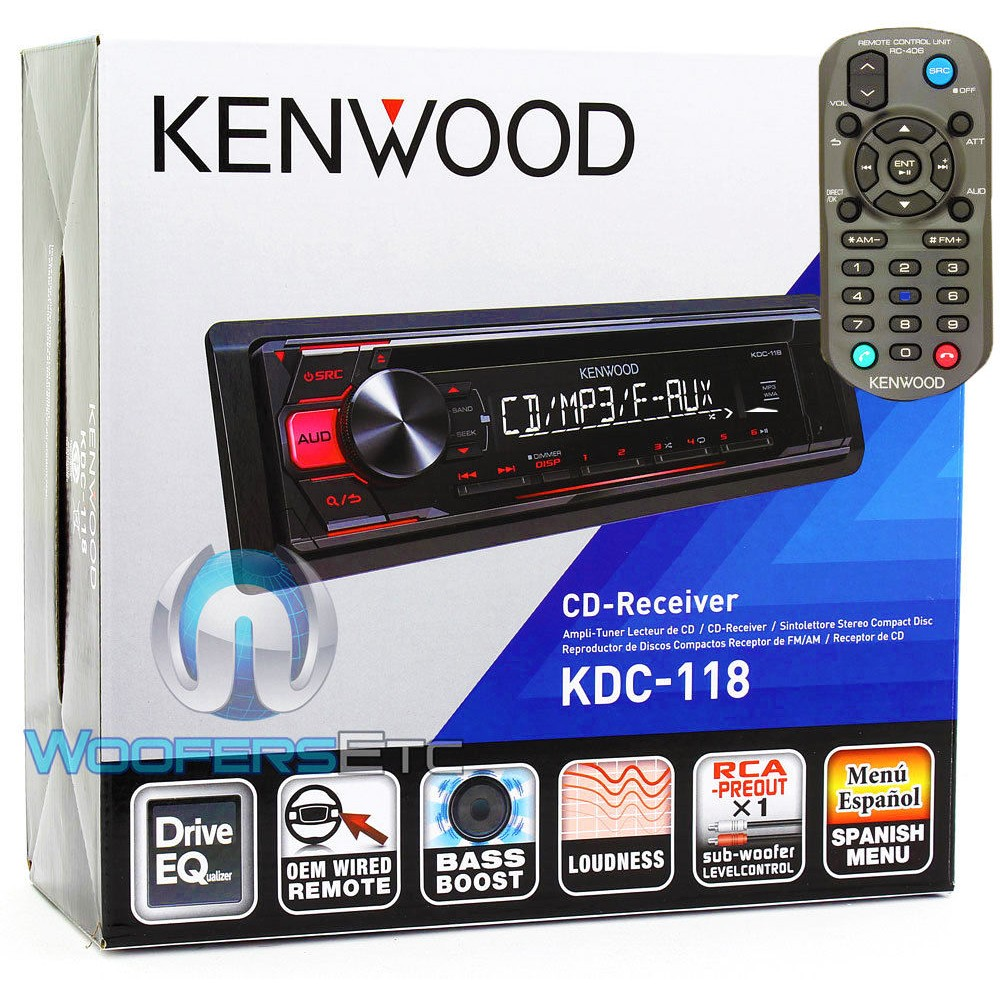 Kenwood Kdc 118 In Dash 1 Din Cd Car Stereo Receiver With