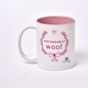 Pink and White Colored Mug