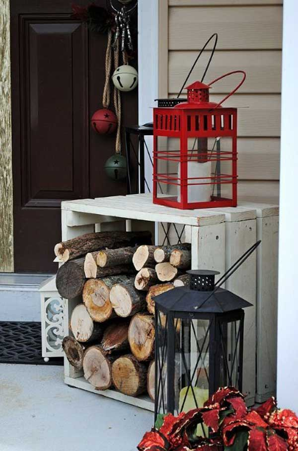Decorations Outdoor Christmas Front Entrance Porch Decorating Ideas With Red Ribbon On Green Garland Also