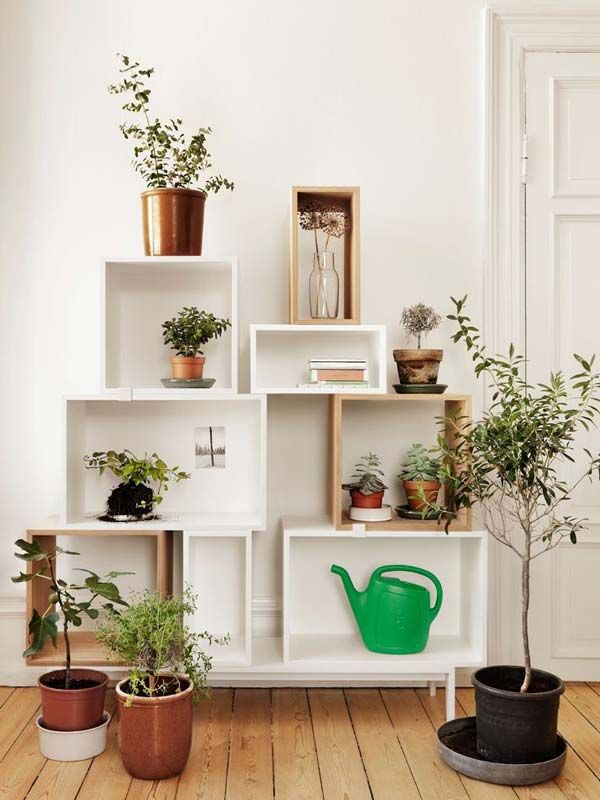 Indoor Gardens Open Shelving Shelf Unit With Potted Plants