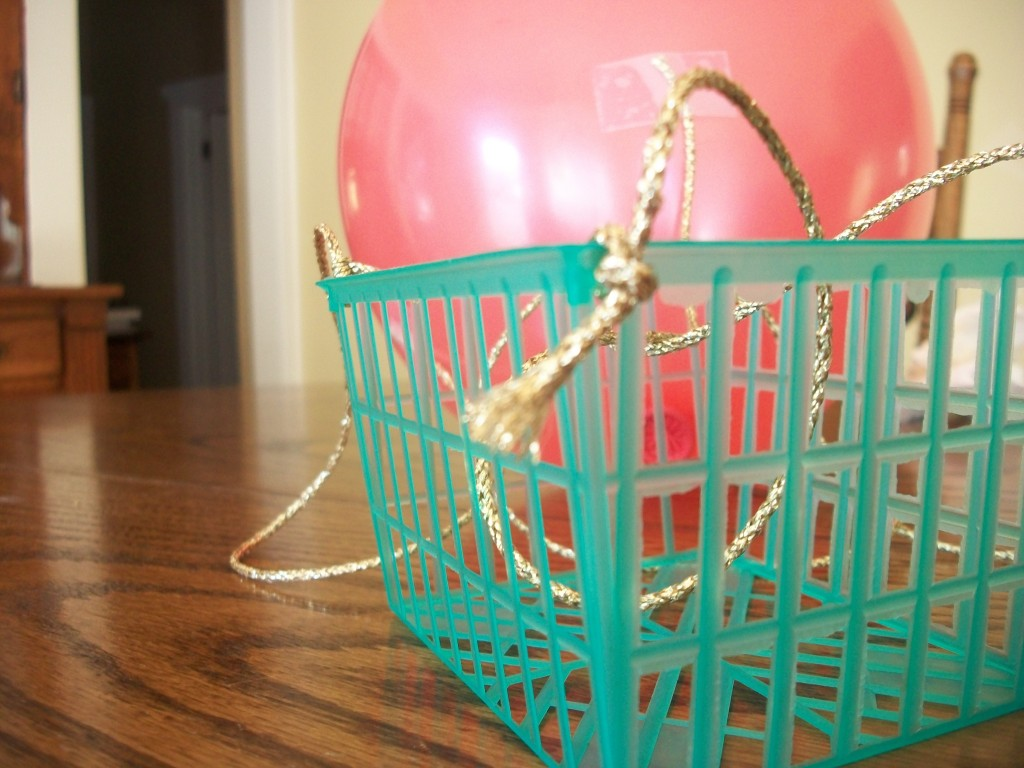 Tie One End Of Each String To A Corner Of Your Basket Or