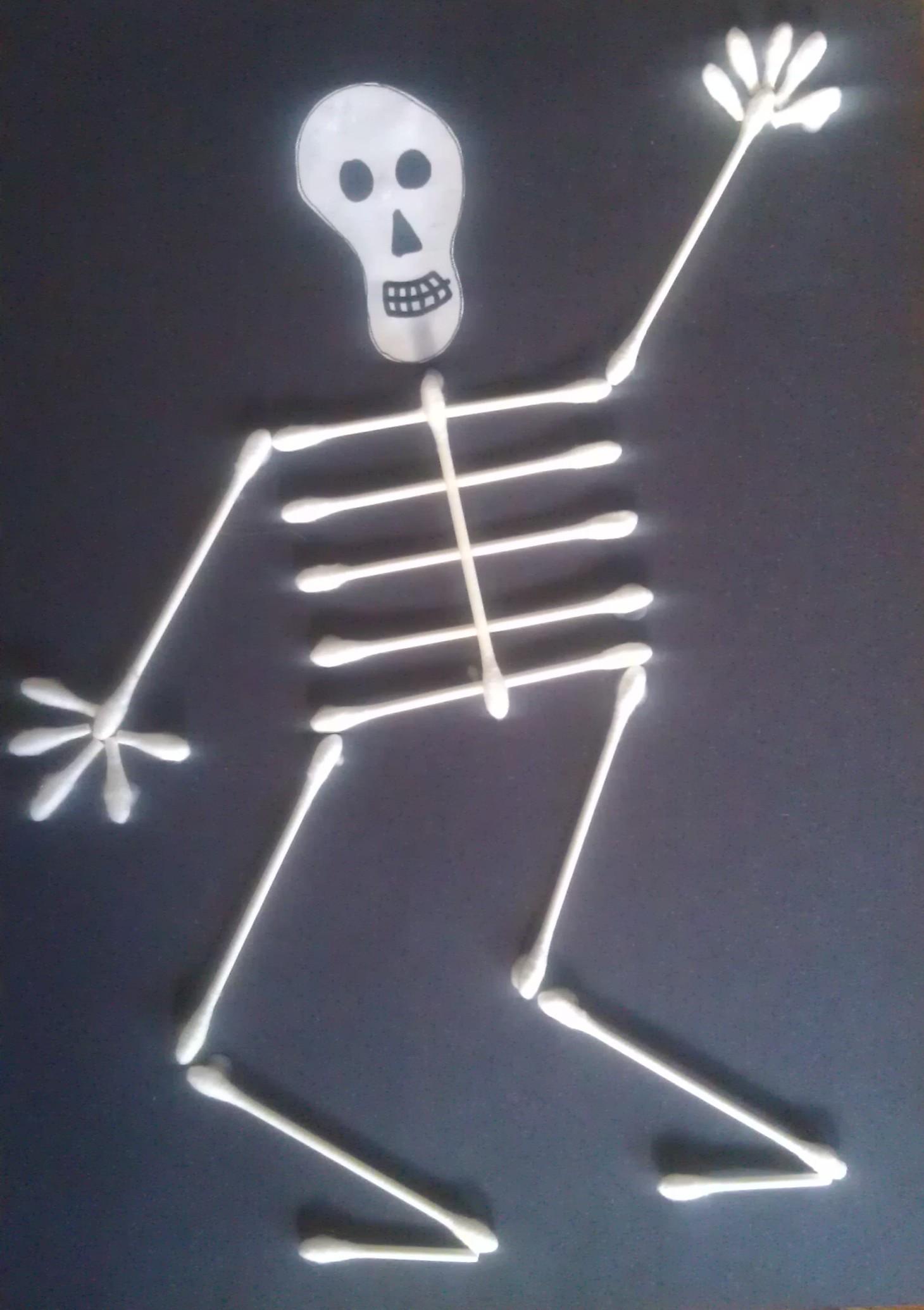 Q Tip Skeleton Halloween Craft For Kids